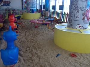Sand pit play area.